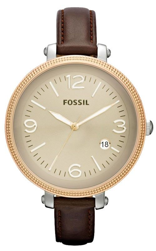 Fossil ES3206 Round Leather Strap Silver Brown Women's Watch, Disclosure: Affiliate Link