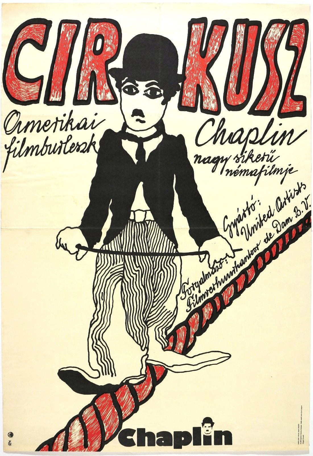 Vtg Orig Movie Poster Charlie Chaplin Cirkus USA Hungarian 1976 Sign Székely | eBay