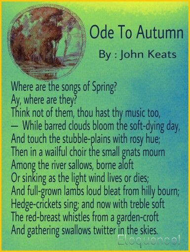 Ode To Autumn, By : John Keats | Poets of Romantic Revival Period ...