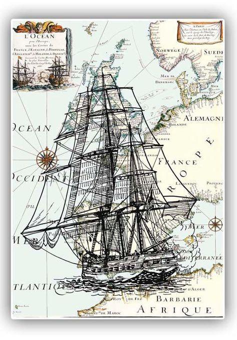 Nautical Art Frigate Antique Europe Map Print Poster Vintage Modern - Vintage europe map poster