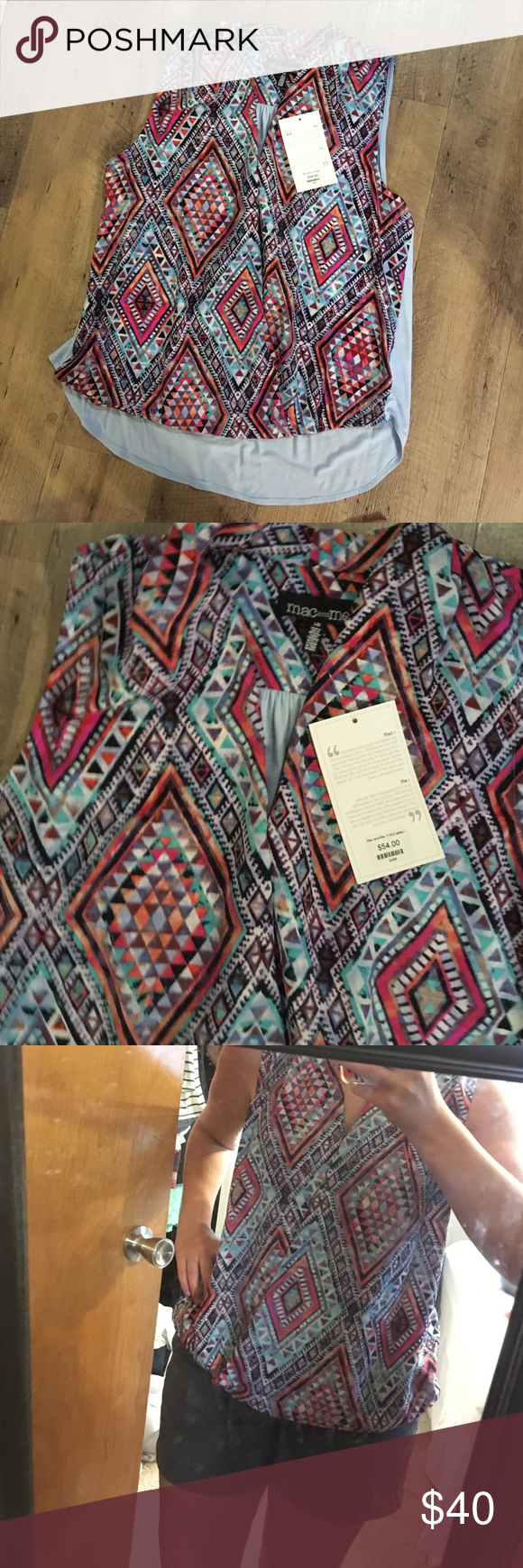 BNWT sassy tank Mac and Me size L Chiffon Aztec and geometric print front with high low back that is a baby blue shirt material. Faux crossover wrap draped front. New with tags, never got around to wearing. It's a size large from Mainstream Boutique. Francesca's Collections Tops Tank Tops