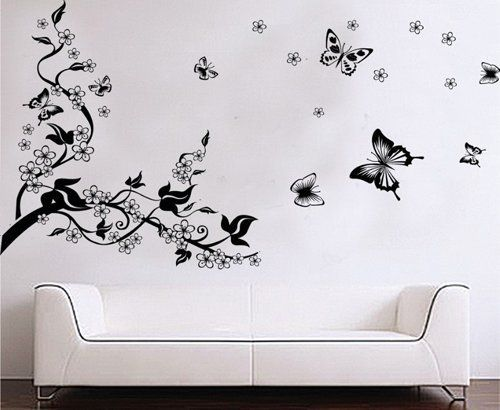 NiceEshopTM Plum Blossom Tree Flying Butterflies Wall Sticker Decals By NiceEshop
