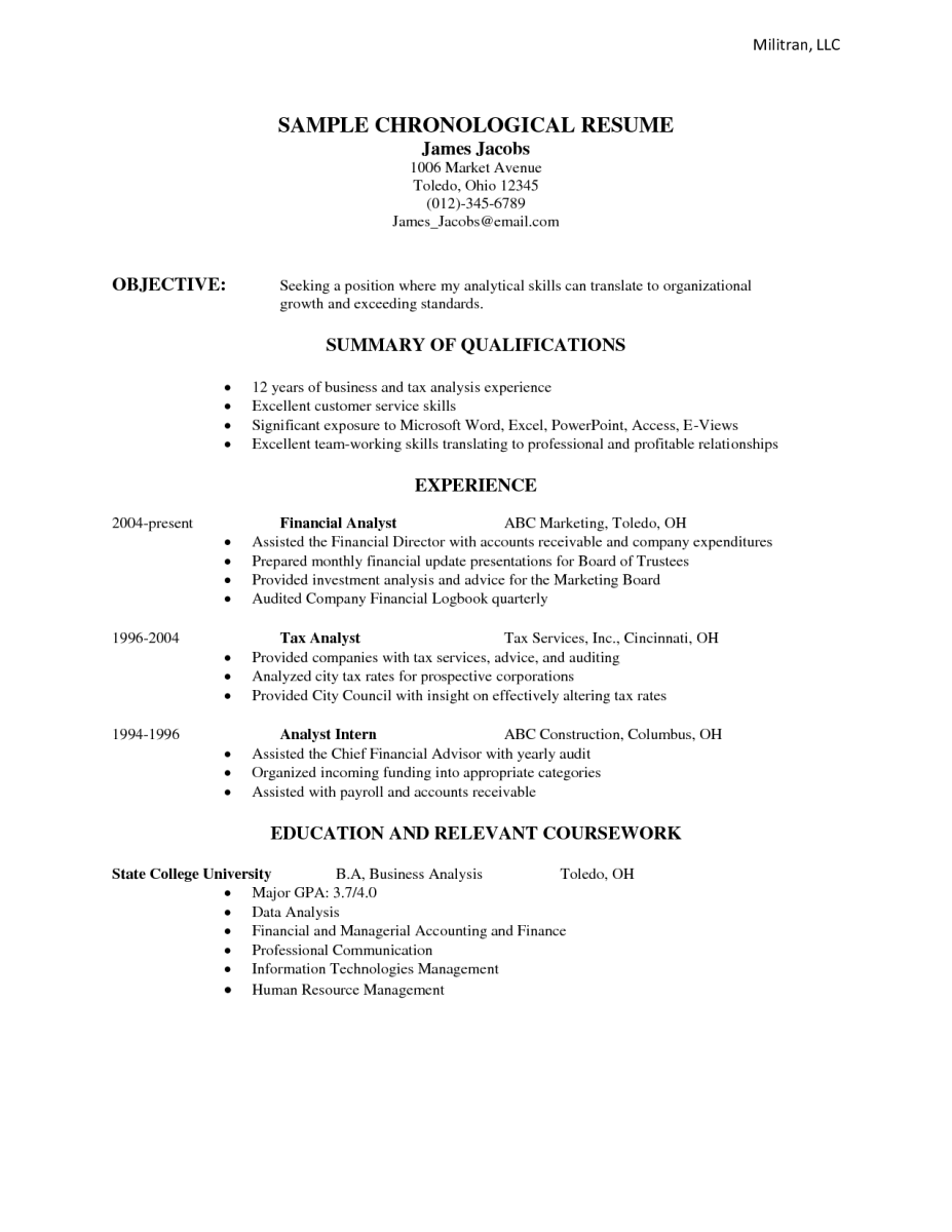 Chronological Resume Samples Examples  Sample Resumes  Work