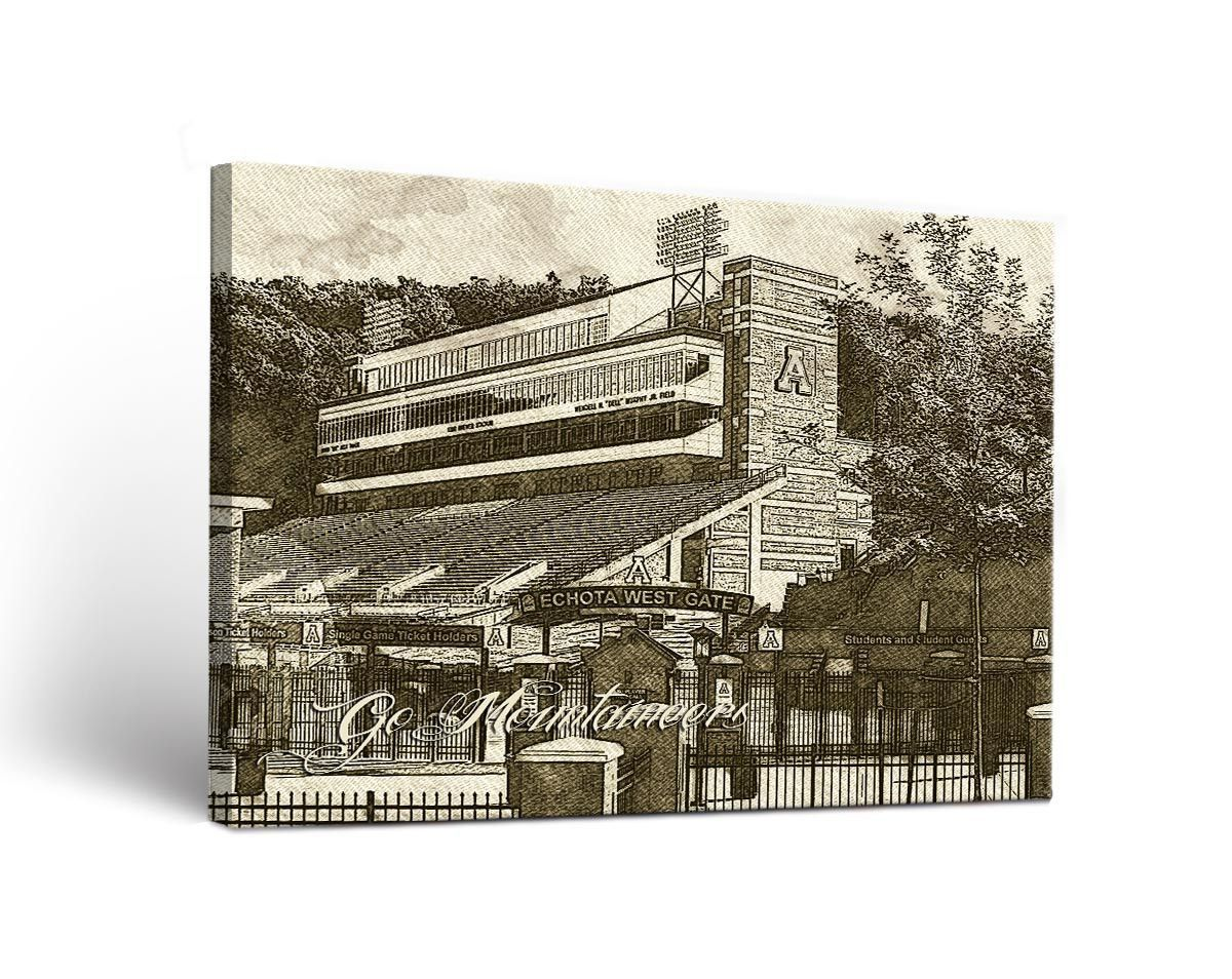 Appalachian State Mountaineers Campus Sketch Canvas Wall Art