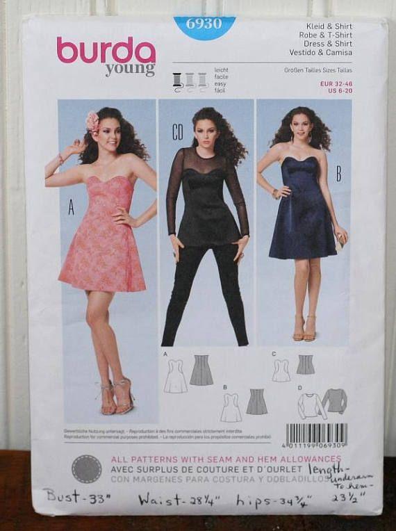 Burda Ladies Easy Sewing Pattern 6930 Bustier Dresses Sizes ...