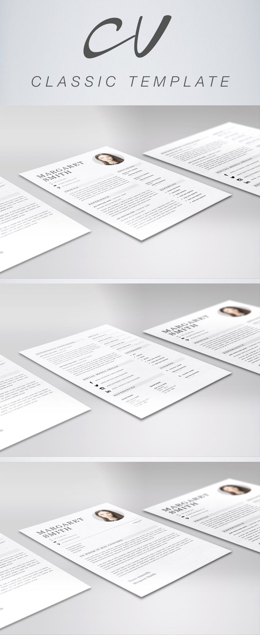 Universal Classic Resume Template Cv Template Instant Download
