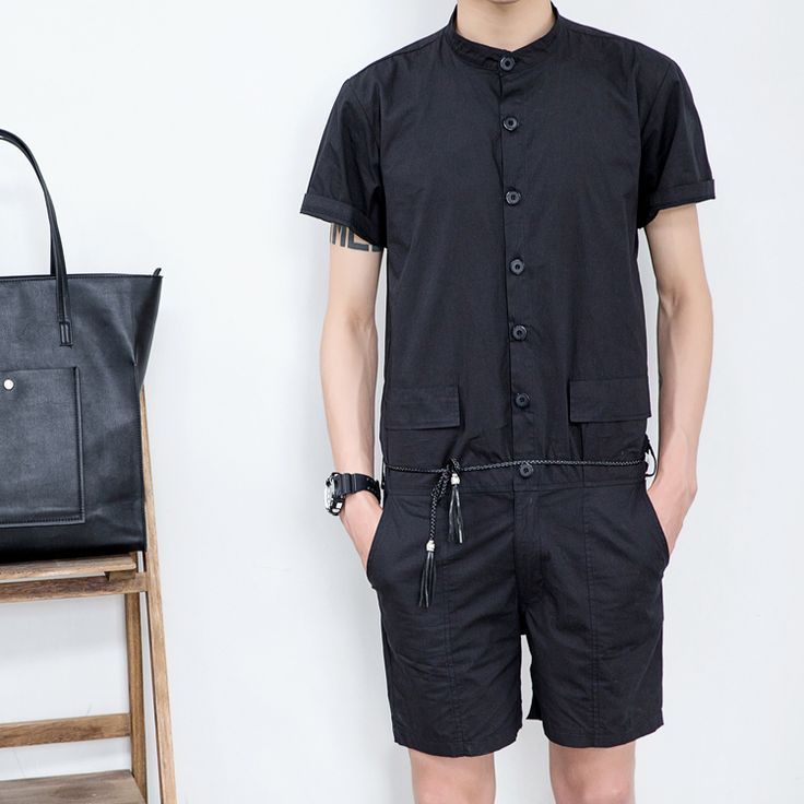 Summer men's new stand collar short-sleeve shirt slim jumpsuit one piece  jumpsuit overalls teenage handsome uniform pants | something | Pinterest |  Overalls ...