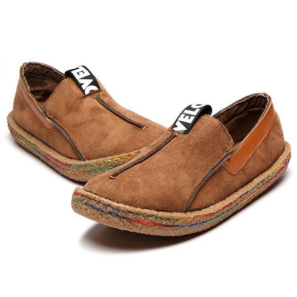 Hot-sale Suede Pure Color Slip On Stitching Flat Soft Shoes For Women -  NewChic | Stuff to Buy | Pinterest