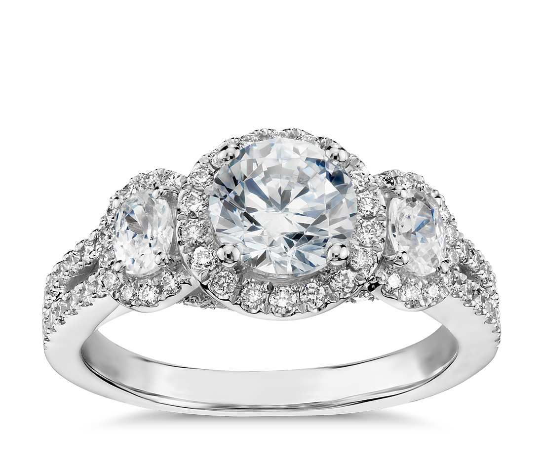 Monique Lhuillier Three Stone Halo Pavé Diamond Engagement Ring in Platinum