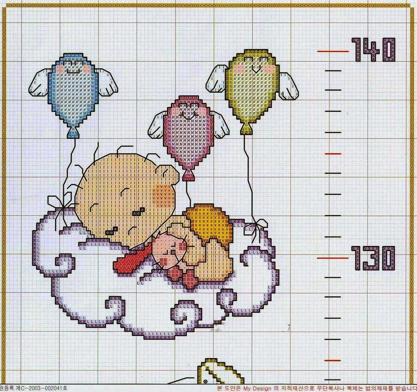 Hobby lavori femminili - ricamo - uncinetto - maglia  metro crescita bimbi punto  croce 4a3d8f44698a