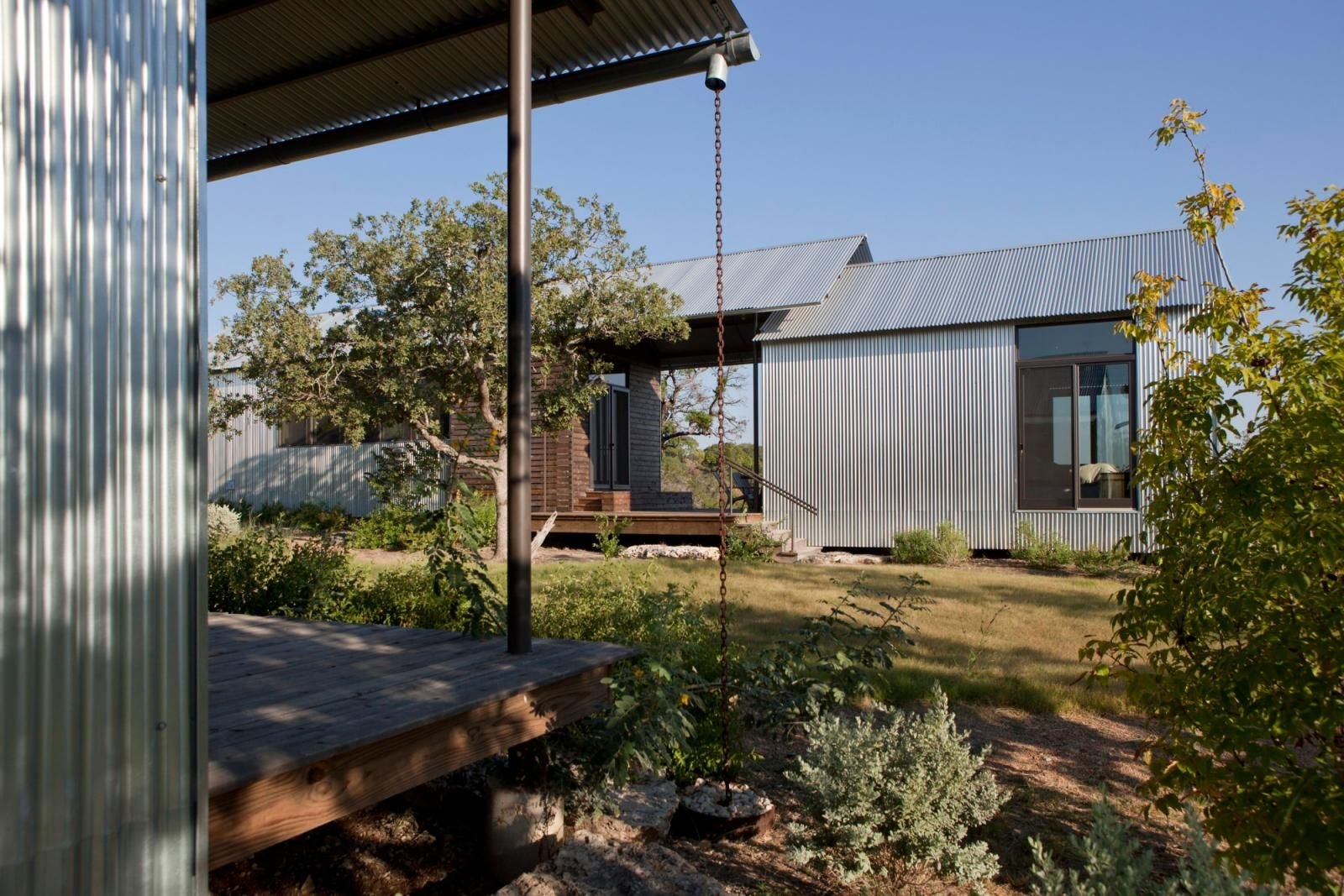 Miller Ranch Lake Flato, architecture; dog trot, porch