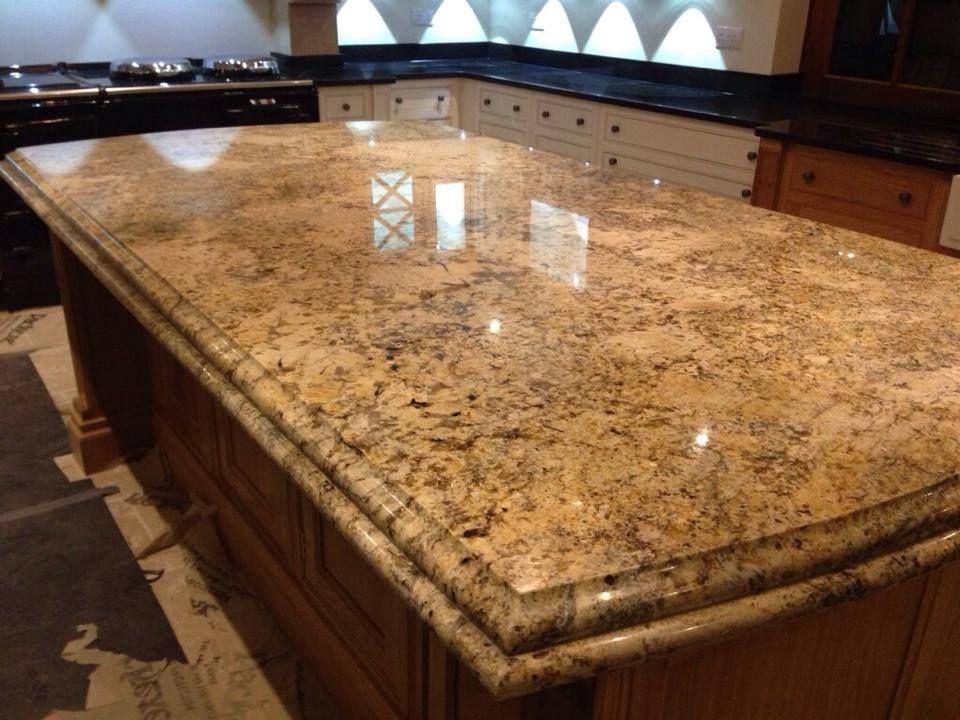 Solarius Gold Granite Worktops With Double Edge Profile In Knutsford Cheshire Www Excelgranite Co Uk