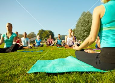 Ground View Of A Group Of People Attending A Yoga Class Outdoors Yoga Poses Advanced Advanced Yoga Yoga Benefits