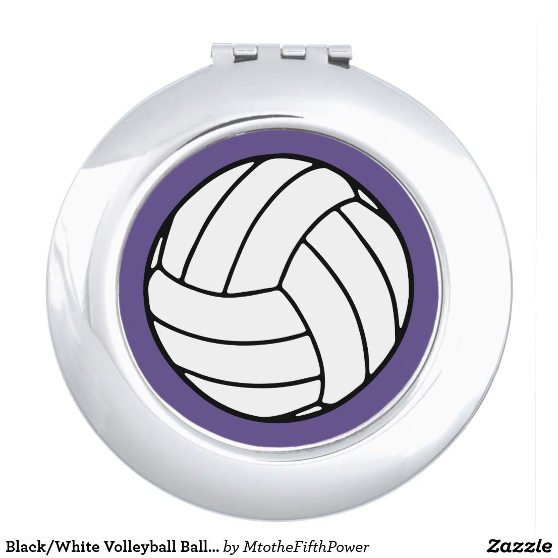 Black White Volleyball Ball On Ultra Violet Purple Compact Mirror Zazzle Com Compact Mirror Blue Vanity Black Mirror