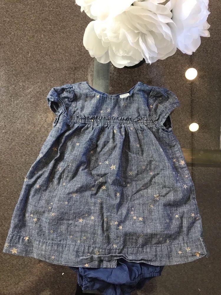 e9453ec7b2e6 Gap Baby Girl s Denim Dress Gold Stars size 6-12 Months NO RESERVE ...