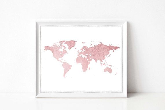 Rose gold map print rose gold glitter world map rose gold rose gold map print rose gold glitter world map rose gold nursery rose gumiabroncs Image collections