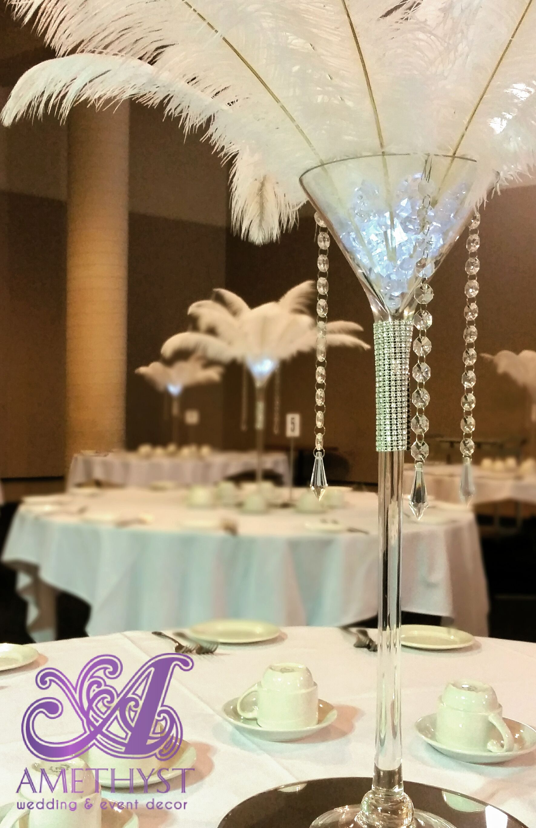 Giant Wine Glass Decorations White Ostrich Feather Centerpiece With Martini Vase