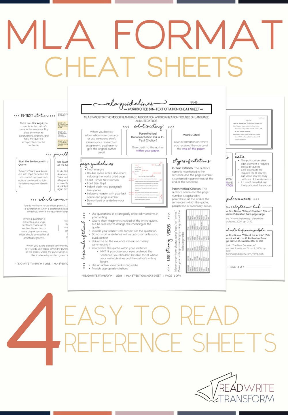 Updated 2019 Mla 8 Format Cheat Sheet Mla Format Mla Citation High School Writing