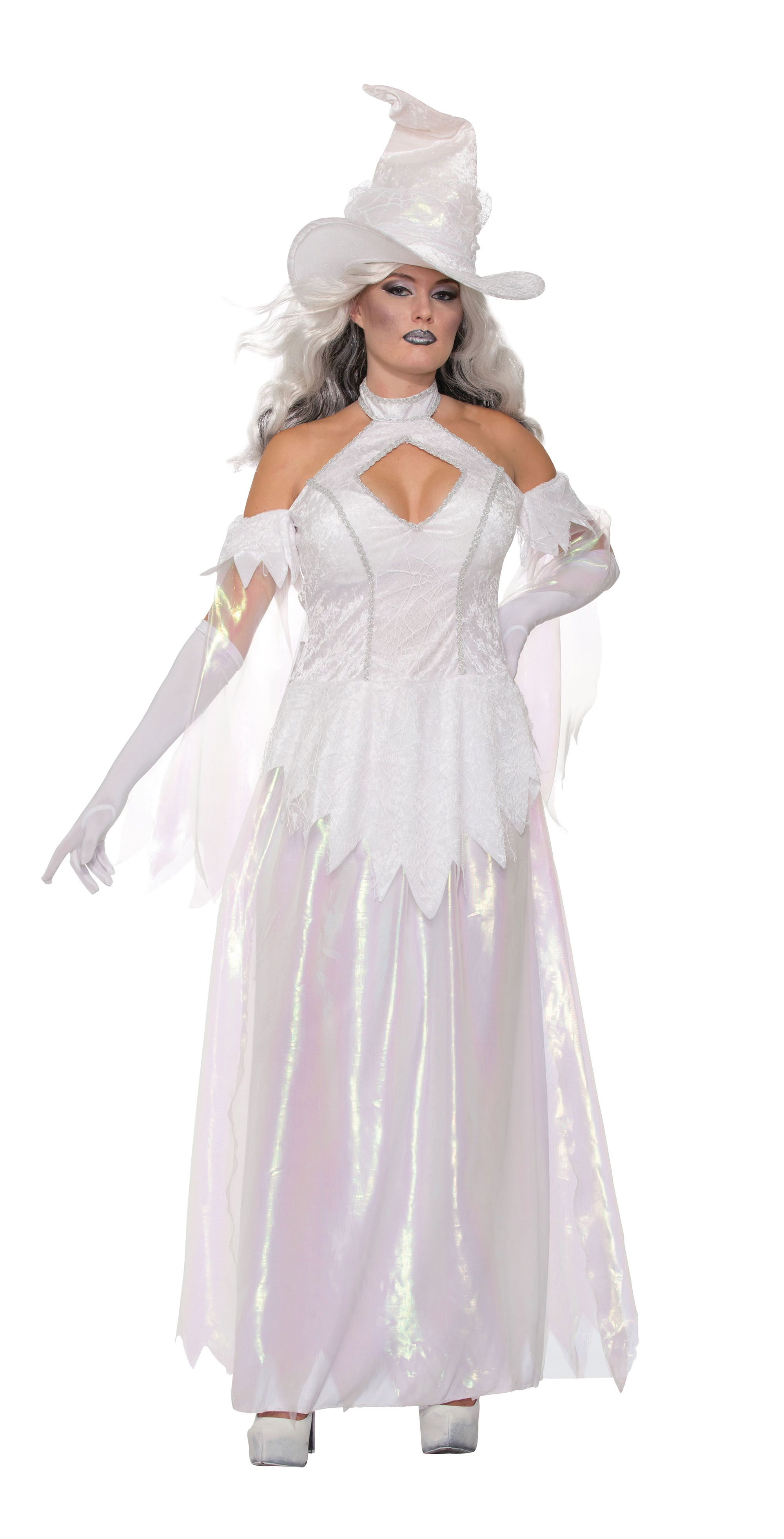White Witch Fancy Dress Costume Womens Adult Halloween