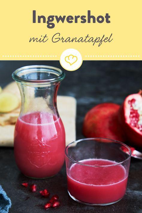 Ingwer-Granatapfel-Shot mit Blutorange