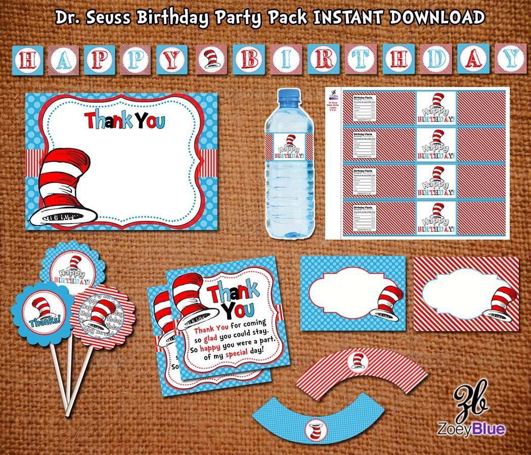 Dr Seuss BIRTHDAY Cat in the Hat INSPIRED Party by ZoeyBlueDesigns, $15.00