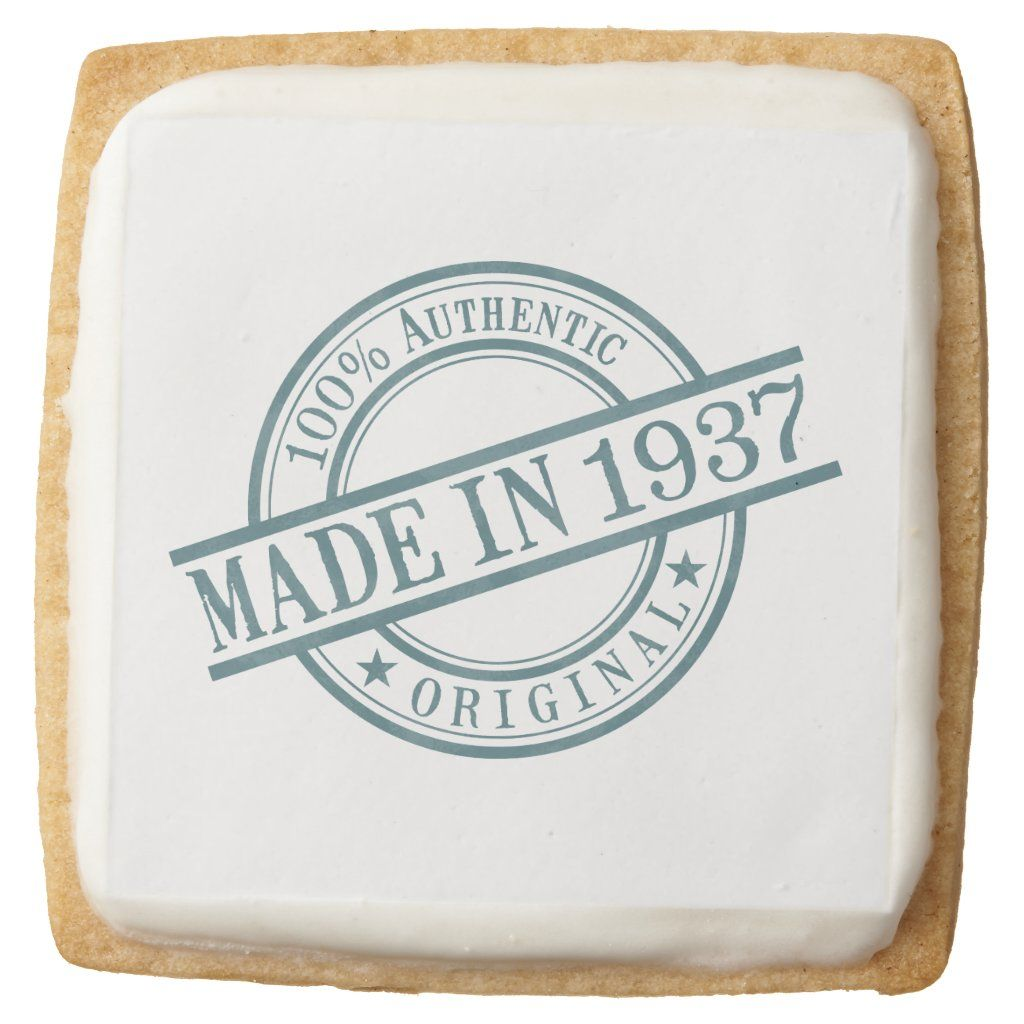 Made in 1937 Circular Rubber Stamp Style Logo Square Shortbread Cookie