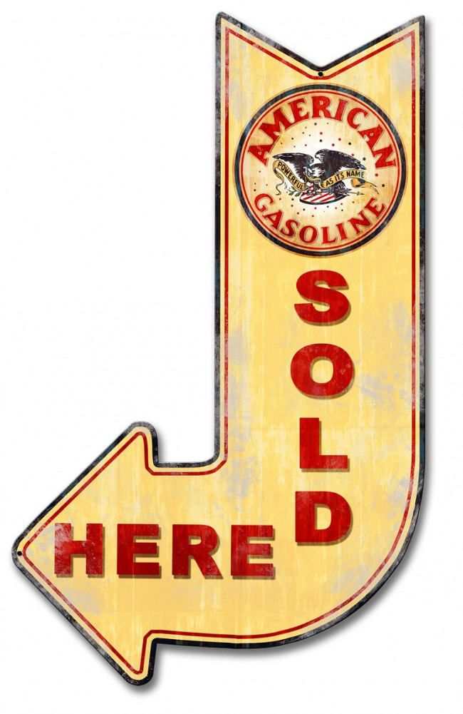 American Gasoline Sold Here Arrow 24 x 15 Metal Advertising Sign ...