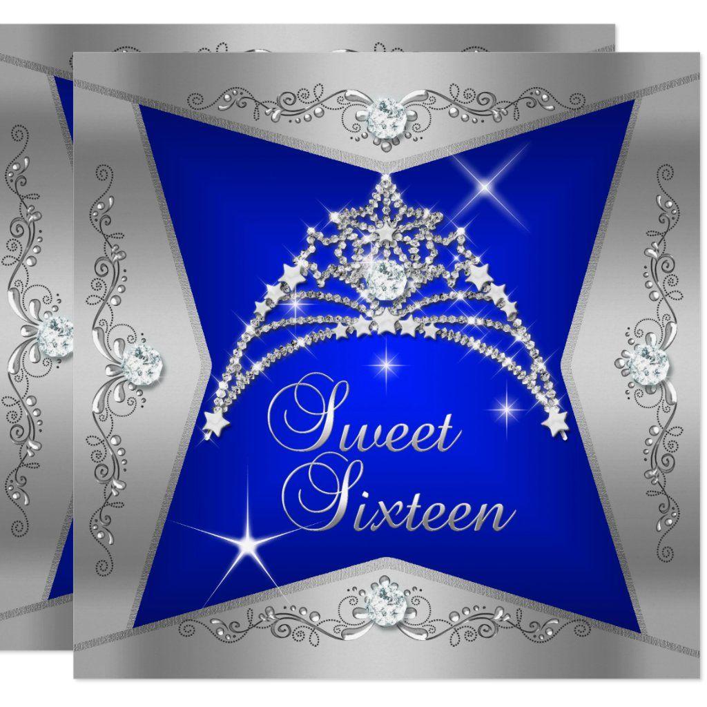 Sweet Sixteen Sweet 16 Blue Silver Tiara Card