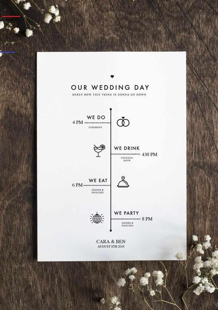 Bearbeitbares Hochzeitsprogramm - Rustikale Minimalistische Hochzeit - DIY Hochz... - fashion beauty...