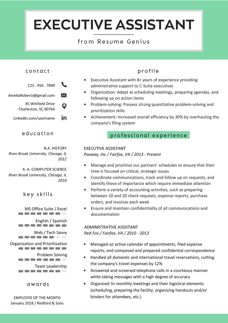 executive assistant resume example  u0026 writing tips