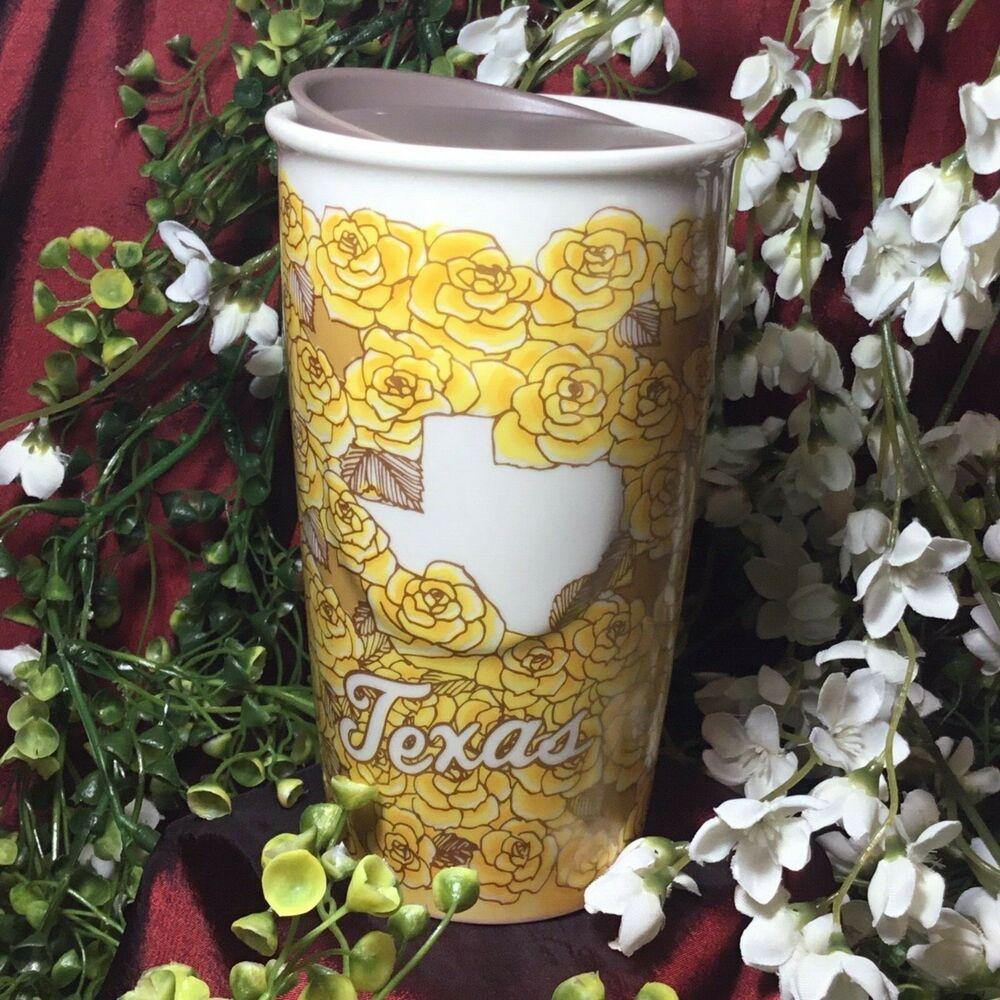 NEW! Starbucks Yellow Rose of TEXAS 2016 Travel Mug w Lid Local Collection