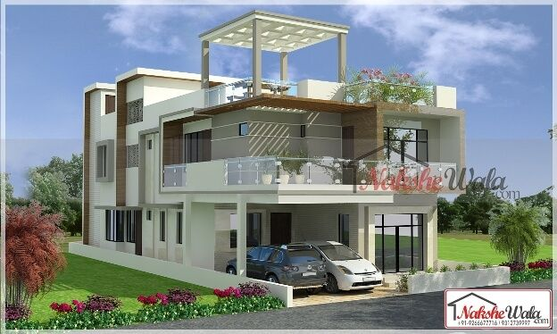 Double Storey Elevation Two House 3d