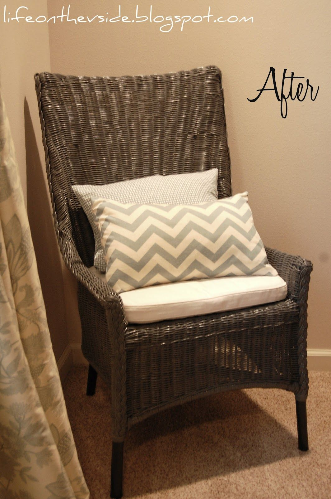 Wicker chair makeover rustoleum granite minwax dark walnut on the legs