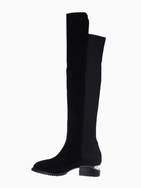 Suede Over the Knee Boots With Elastic Cloth Detail