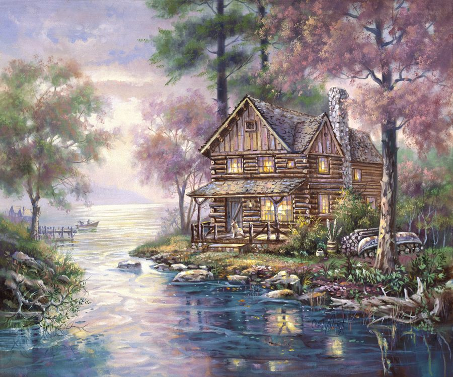 Doyle 39 s cabin by carl valente cabin on lake in spring for Log cabin painting