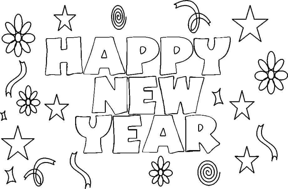 happy new year 2018 coloring pages