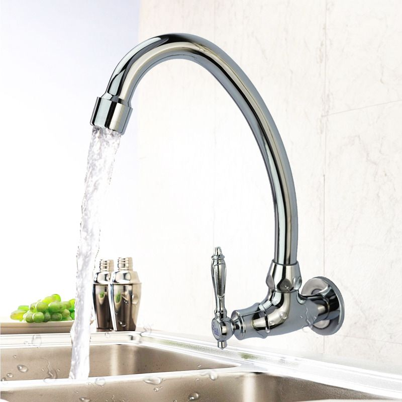 The Wall Mount Kitchen Faucet Is Made Of Good Quality Brass Material Surface Has Chrome F Wall Mount Kitchen Faucet Kitchen Faucet Kitchen Faucet With Sprayer