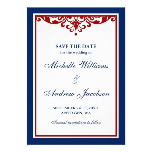 Navy Blue and Red Flourish Wedding Save the Date Custom Announcements Reviewtoday easy to Shops & Purchase Online - transferred directly secure and trusted checkout...