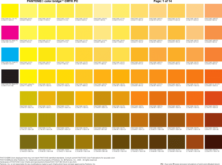 Preview of One Chart of the Free Pdf Doc \'\'PANTONE Color Bridge CMYK ...