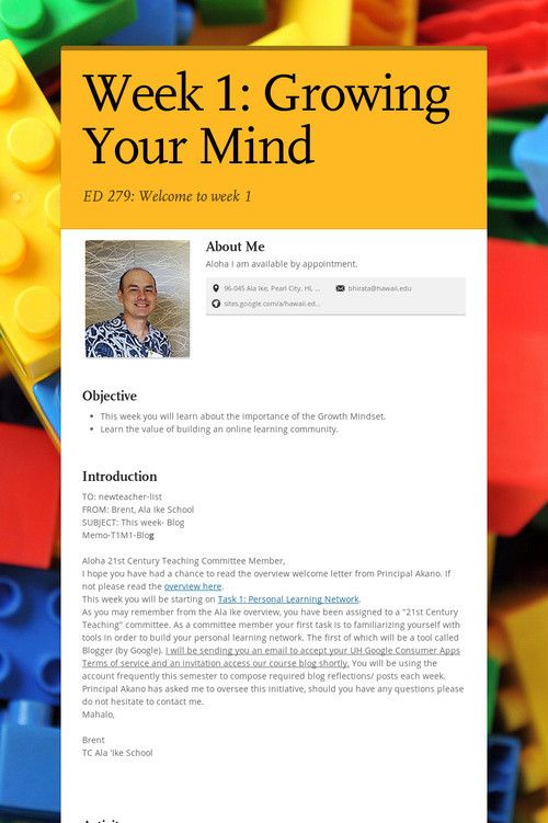 Week 1:  Growing Your Mind