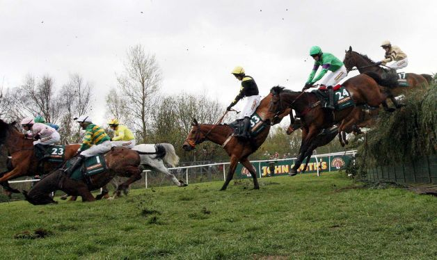The Grand National At Aintree Racecourse Liverpool England Saturday April 14 2012 2 Horses Euthan Grand National Steeplechase Horses National Hunt Racing
