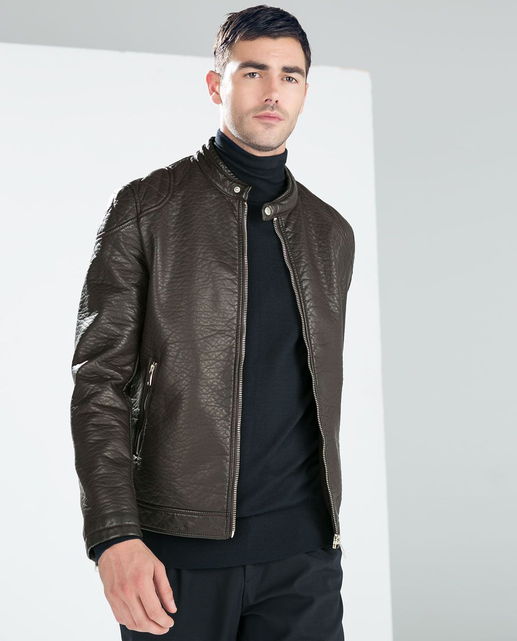 FAUX LEATHER JACKET WITH PADDED SHOULDER from Zara Faux