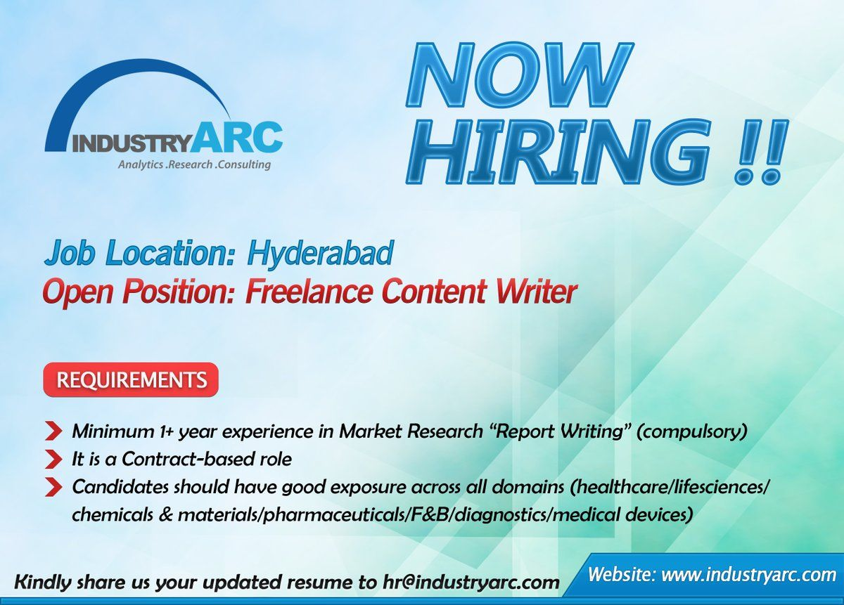 Want To Join Industryarc This Job Might Be A Great Fit For You We Are Hiring For Freelance Content Writers Sen Report Writing Market Research We Are Hiring