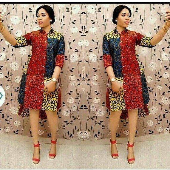 Photo of African print shirt dress -Ankara dress-Ankara shirt dress-s…