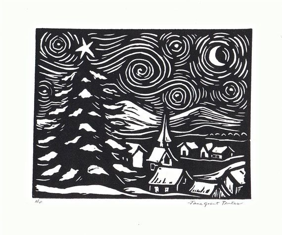 Starry Night Linoleum Block Print GrabadoWoodcut