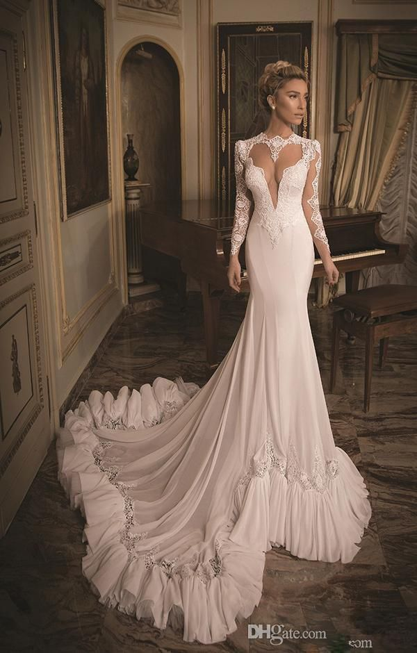 Backless Wedding Dress Lace and Chiffon