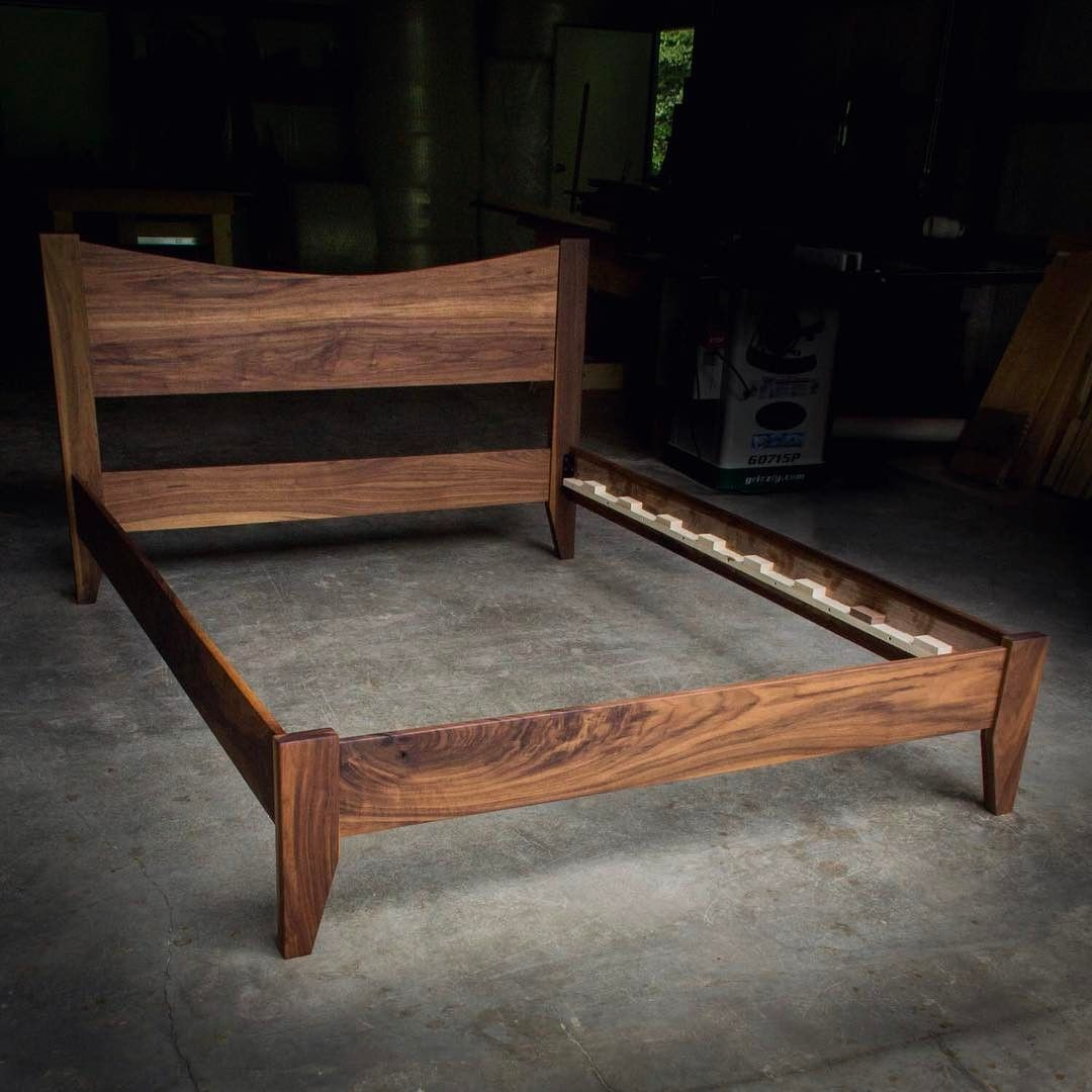 Walnut queen size bed with curved 16\