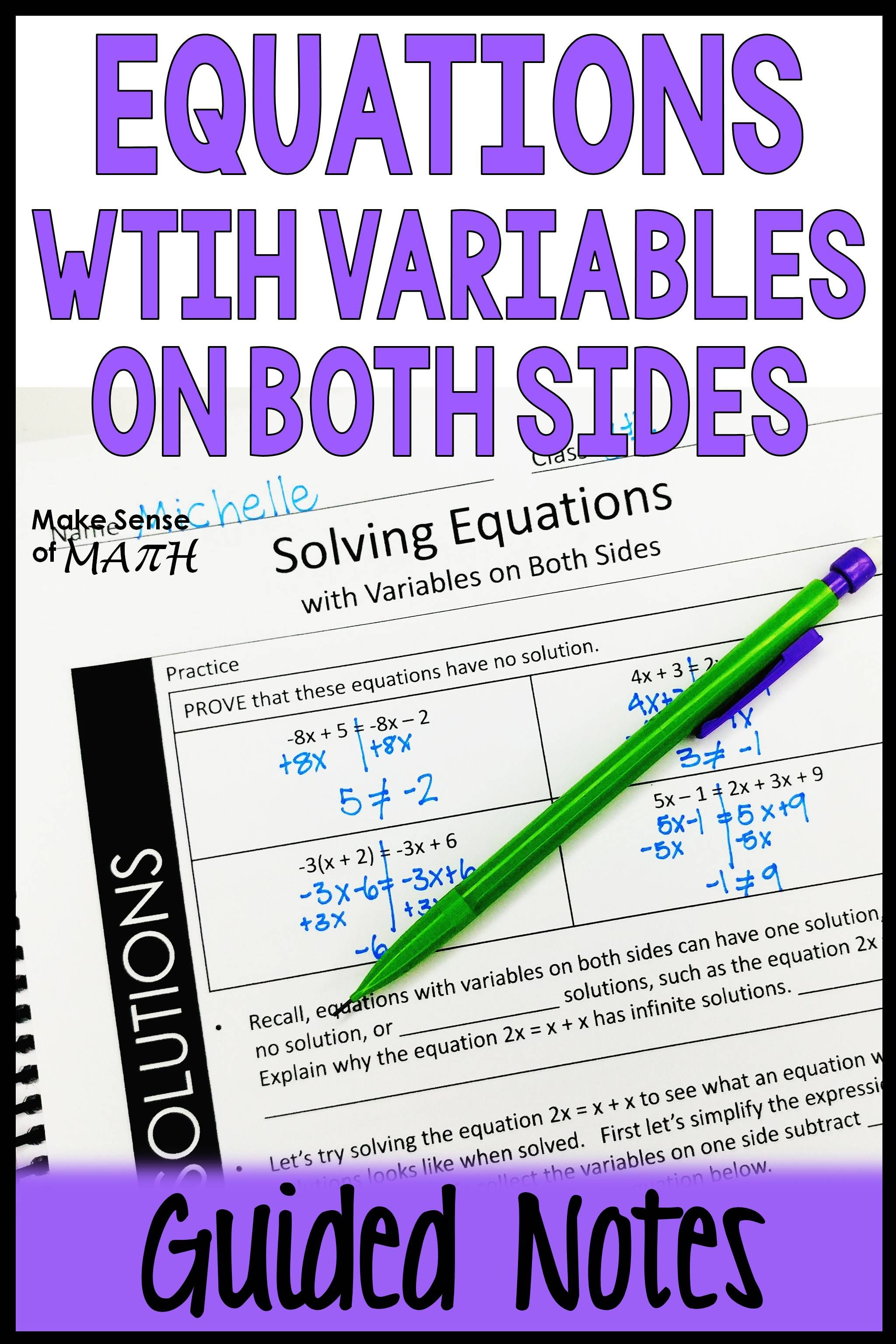 Equations With Variables On Both Sides Guided Notes