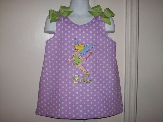 Tinkerbell Applique Lavender Polka Dot Aline by thesewprincess, $34.99