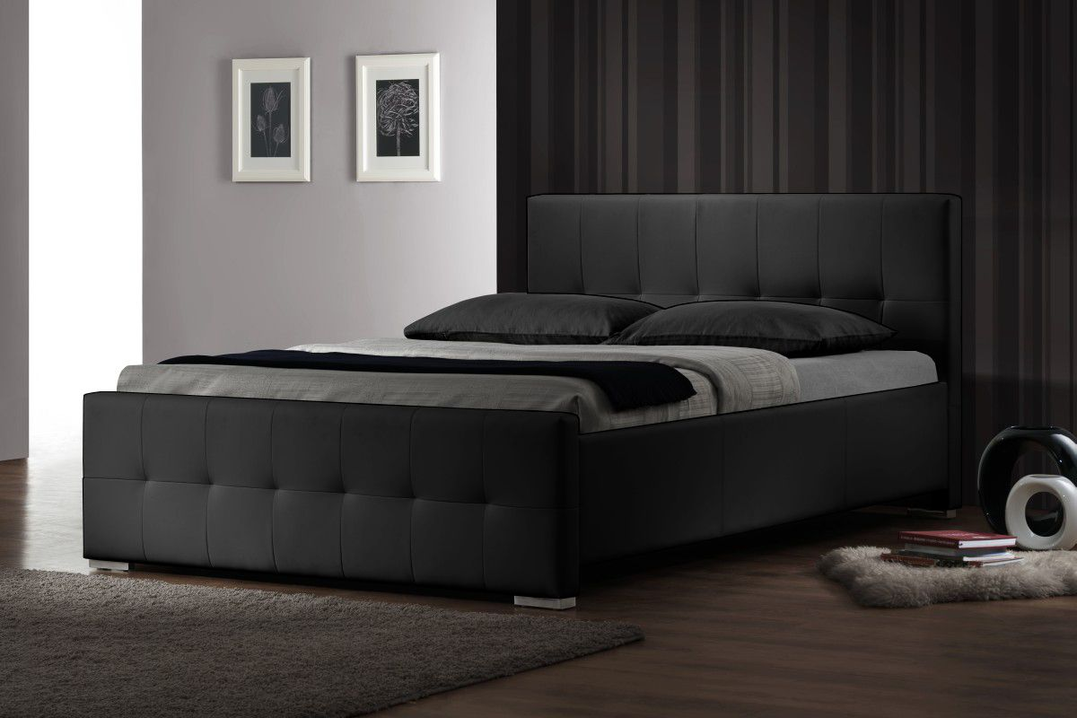 Allison Luxury Upholstered Queen Bed Frame In Black Beds
